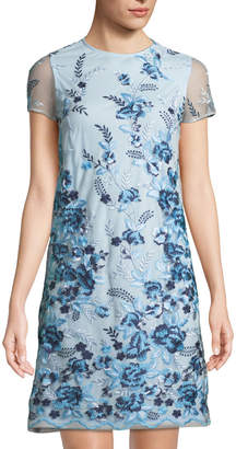 Donna Ricco Floral-Embroidered Mesh Shift Dress