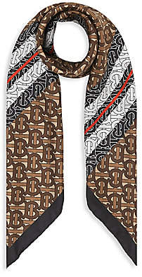 Burberry Women's Monogram & Icon-Striped Square Silk Scarf