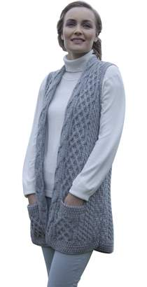Carraigdonn Carraig Donn Ladies Merino Wool Celtic Gilet Cardigan