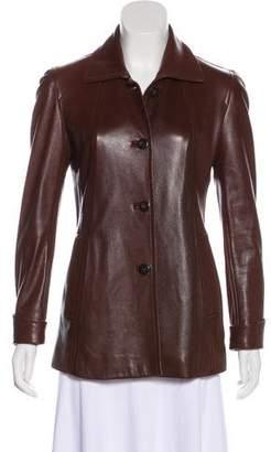 Donna Karan Leather Short Coat