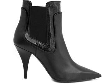 Casadei Black Leather Ankle Boot.