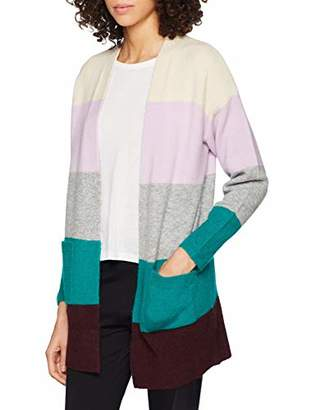 Warehouse Women's Bold Stripe Cardigan, (Lilac/Grey), (Size:)