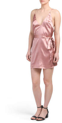 Juniors Satin Slip Dress