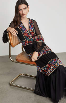 BCBGMAXAZRIA Floral Embroidered Maxi Dress