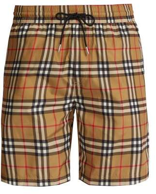 Burberry Vintage Check Swim Shorts - Mens - Beige Multi