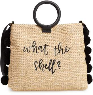 T-Shirt & Jeans Pompom Trim Embroidered Straw Tote