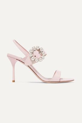 Miu Miu Faux Pearl-embellished Patent-leather Slingback Sandals