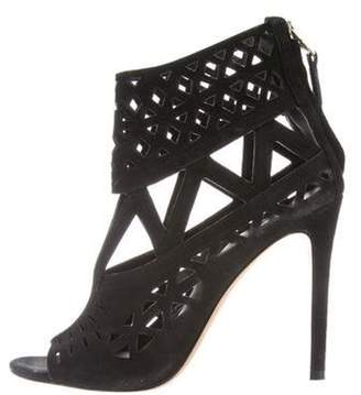 Brian Atwood Cutout Peep-Toe Ankle Boots Black Cutout Peep-Toe Ankle Boots