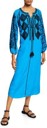 Figue Lana Long-Sleeve Diamond Embroidered Silk Caftan Dress
