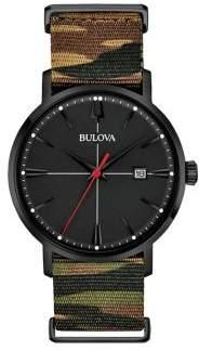 Bulova Aerojet Black Stainless Steel & Camo Strap Watch