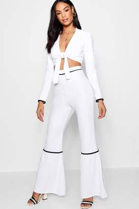 boohoo Contrast Piping Wide Leg Trouser