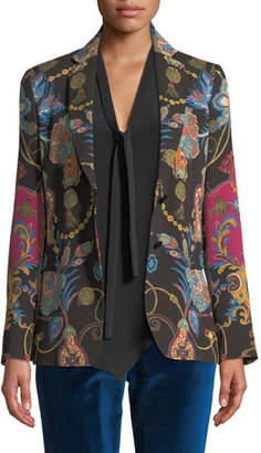 Etro Single-Breasted Two-Button Paisley-Print Blazer