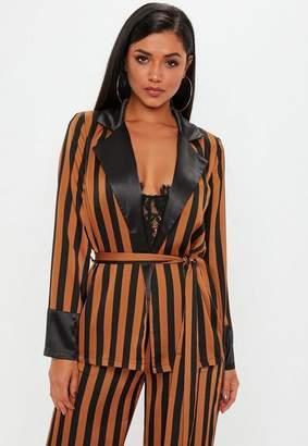 Missguided Brown Stripe Belted Blazer