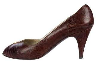 Bruno Magli Embossed Peep-Toe Pumps