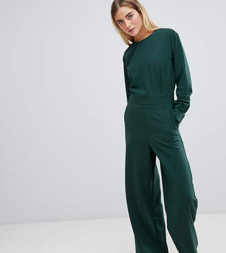 2a6e3389384a Weekday wide leg open back jumpsuit in dark green