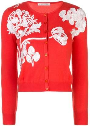 Oscar de la Renta floral embroidery knitted cardigan