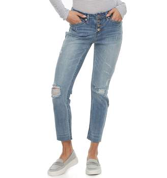 UNIONBAY Juniors' Presley Ripped Button Fly Ankle Jeans
