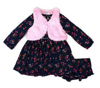 Nanette Baby Long Sleeve Floral Vest A-Line Dress - Baby Girls