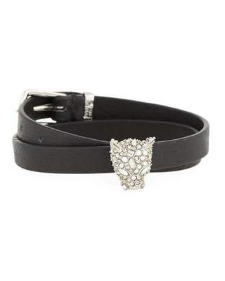 Alexis Bittar Leather Choker Wrap Bracelet with Panther Head Charm