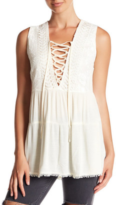 En Creme Lace Up Sleeveless Shirt $40 thestylecure.com
