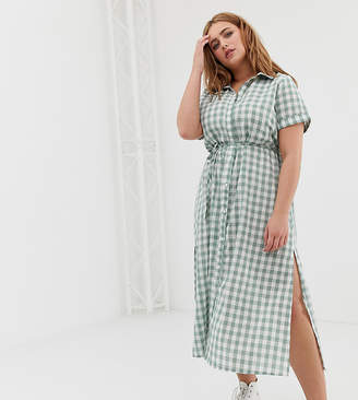 2a53b67d2f4 at ASOS · Glamorous Curve curve shirt dress with belt in grid check