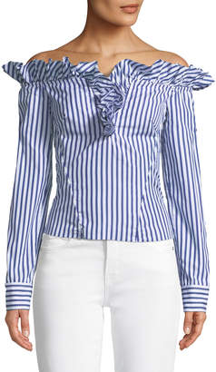 Marques Almeida Marques'almeida Off-the-Shoulder Ruffle Stripe Cotton Blouse