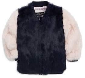 Adrienne Landau Little Girl's& Girl's Rabbit Fur Varsity Jacket