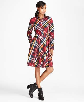 Brooks Brothers Tartan Cotton Poplin Shirt Dress