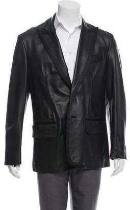 Just Cavalli Leather Embroidered Blazer