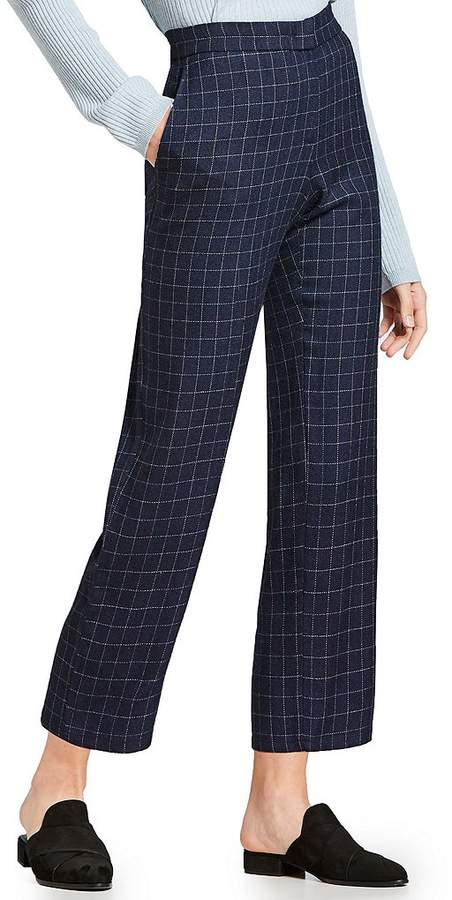 Eileen Fisher Window Pane Plaid Straight Ankle Pants