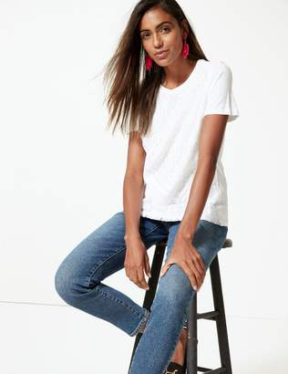 Marks and Spencer Pure Cotton Lace Short Sleeve T-Shirt