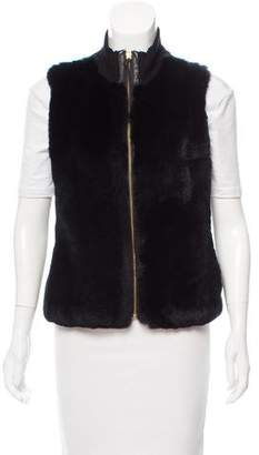 Milly Leather-Trimmed Fur Vest
