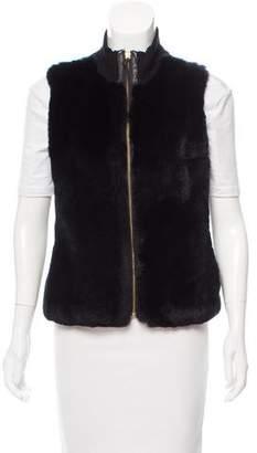 Milly Leather-Trimmed Fur Vest