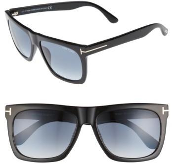 Women's Tom Ford Morgan 57Mm Flat Top Sunglasses - Black/ Gradient Blue