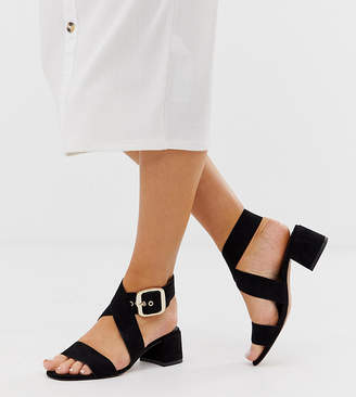 Asos Design DESIGN Wide Fit Hip Hop block heeled sandals in black