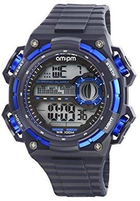 Am.pm. Am : Pm pc163-g396メンズブルーとブラックデジタルスポーツ腕時計クロノグラフアラームBlacklight