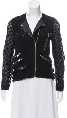 The Kooples Leather-Trimmed Moto Jacket