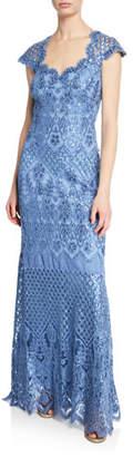 Tadashi Shoji Sequin Lace Sweetheart Cap-Sleeve Gown