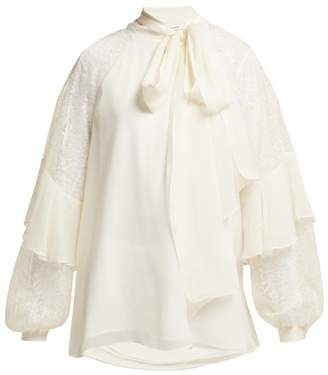 Diane von Furstenberg Mariela Silk And Lace Pussybow Blouse - Womens - Ivory