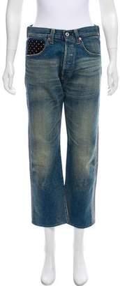 Junya Watanabe Comme des Garçons High-Rise Patterned Jeans