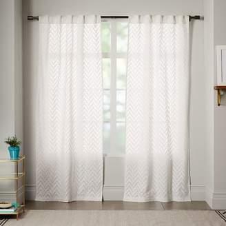 west elm Semi-Sheer Chevron Curtain - White