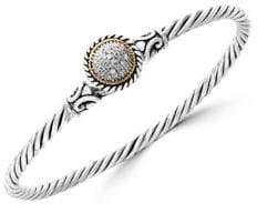 Effy 925 Sterling Silver, 18K Yellow Gold 0.1 TCW Diamond Bangle Bracelet