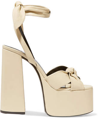 Saint Laurent Paige Leather Platform Sandals - Cream