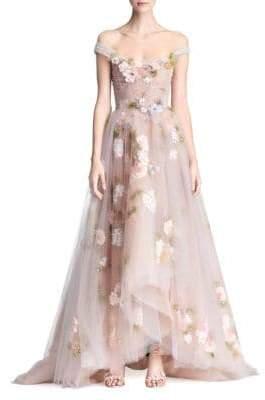 Marchesa A-Line Floral Gown