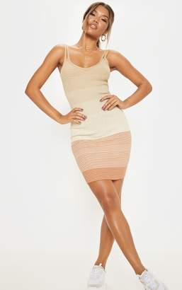 PrettyLittleThing Stone Stripe Detail Knitted Strappy Dress