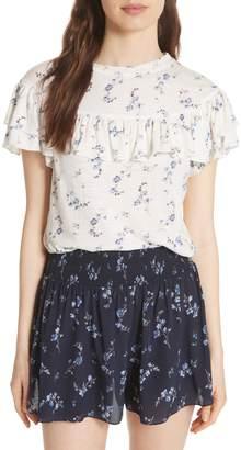 Rebecca Taylor Ruffle Sleeve Cotton Jersey Top