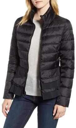 Tahari Zoey Ruffle Hem Puffer Jacket
