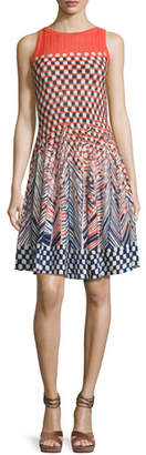Nic+Zoe Fiore Sleeveless Printed Twirl Dress, Multi, Plus Size