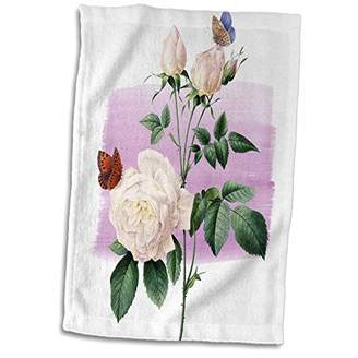 3D Rose Vintage Roses with Butterflies Towel
