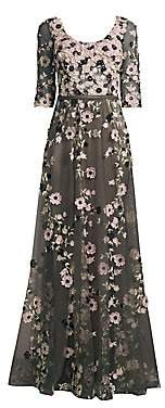 Basix Black Label Women's Quarter-Sleeve Floral Embroidered Gown